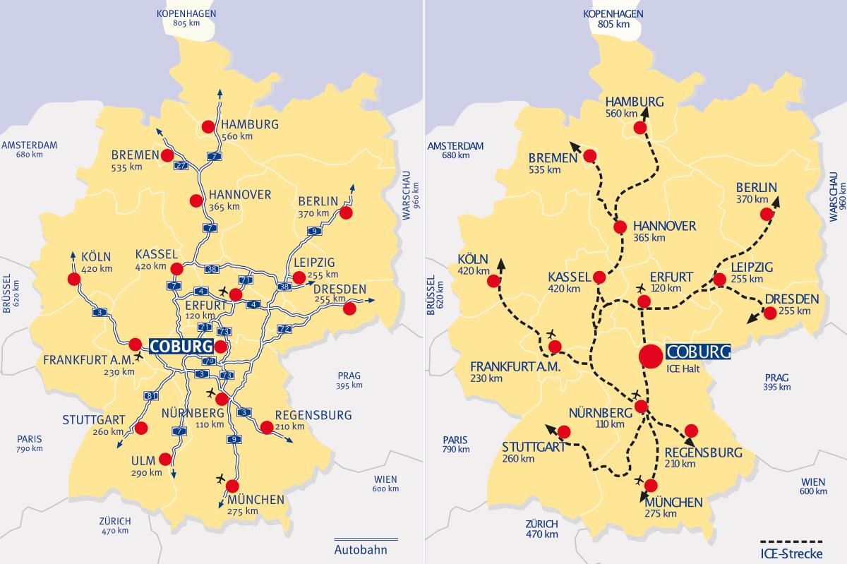 Karte Coburg Autobahn Bahn